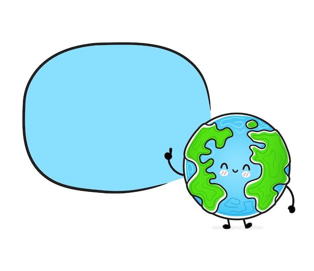 Fofinho engraçado e feliz planeta terra com caixa de fala