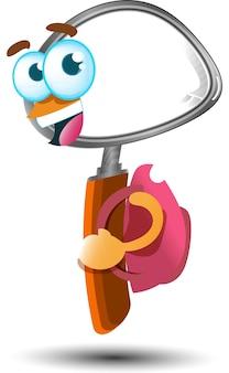 Fofinho feliz ampliando com mochila personagem mascote dos desenhos animados