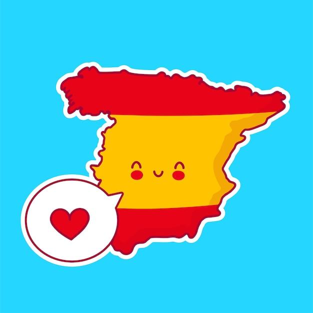 Fofinho feliz e engraçado mapa da espanha e bandeira do personagem com coração no balão