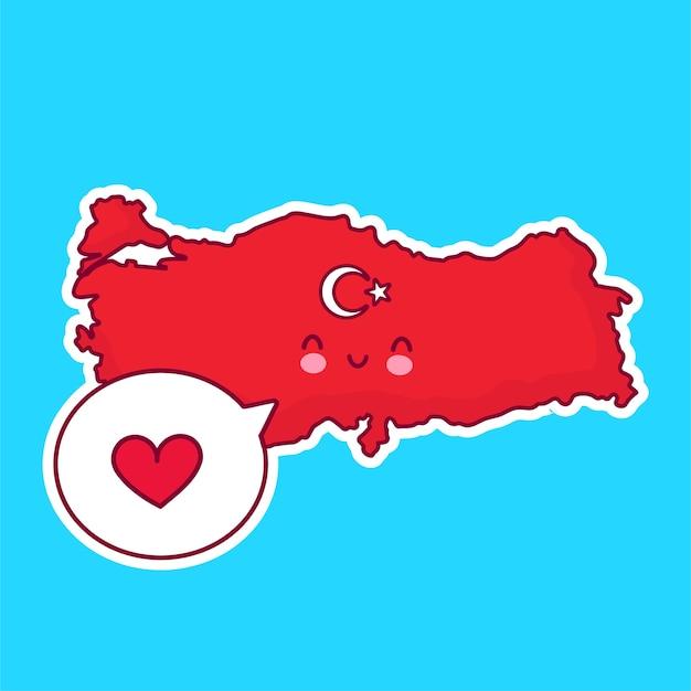 Fofinho feliz e engraçado mapa da turquia e personagem de bandeira com coração no balão