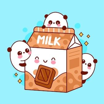 Fofinho feliz engraçado com leite com morango e pandas brincando
