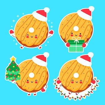 Fofinho feliz engraçado donut de natal. personagem de desenho animado mão desenhada estilo ilustração. natal, conceito de ano novo