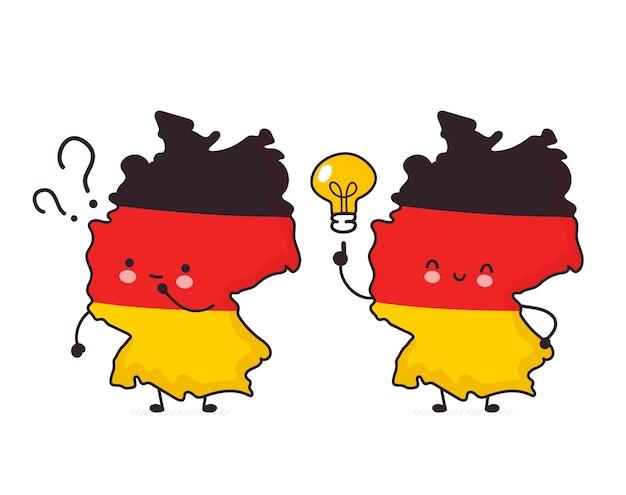 Fofinho feliz engraçado mapa da alemanha e personagem de bandeira com ponto de interrogação e lâmpada de ideia