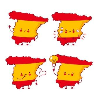 Fofinho feliz engraçado mapa da espanha e coleção de conjunto de caracteres de bandeira