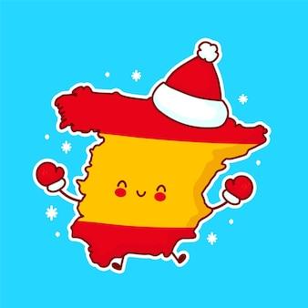 Fofinho feliz engraçado mapa da espanha e personagem da bandeira