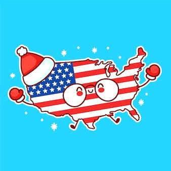 Fofinho feliz engraçado mapa dos eua e personagem da bandeira