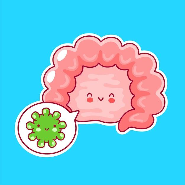 Fofinho feliz engraçado órgão do intestino humano e bolha do discurso com bactérias