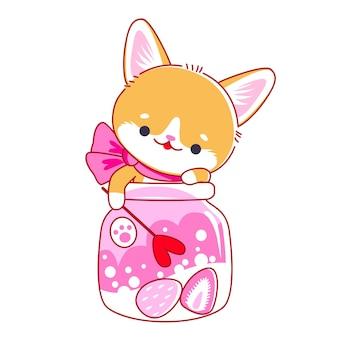 Fofinho gatinho de desenho animado em jarra. estilo kawaii