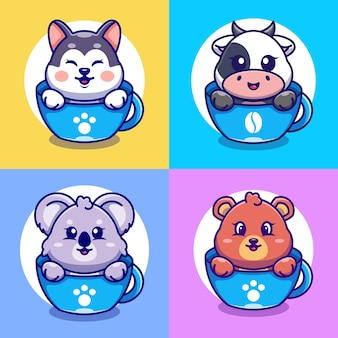 Fofinho huskycowkoala e urso na xícara de café dos desenhos animados