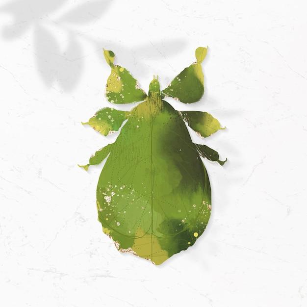 Fofinho inseto folha de aquarela