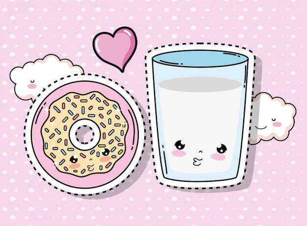 Fofinho kawaii donut e copo de água com nuvens