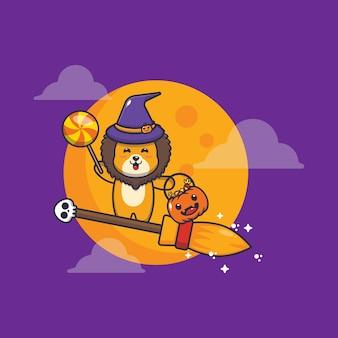 Fofinho leão bruxa voar com vassoura na noite de halloween ilustração fofa dos desenhos animados de halloween