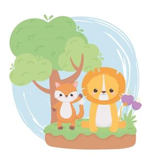 Fofinho leão raposa flores árvore grama animais dos desenhos animados em uma paisagem natural