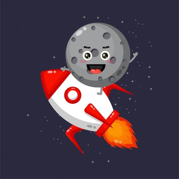 Fofinho mascote da lua andando de foguete