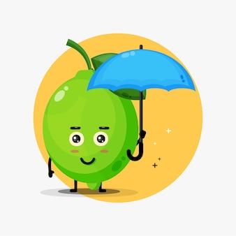 Fofinho mascote de limão trazendo um guarda-chuva