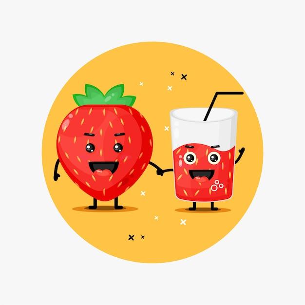 Fofinho mascote de morango e suco de morango de mãos dadas