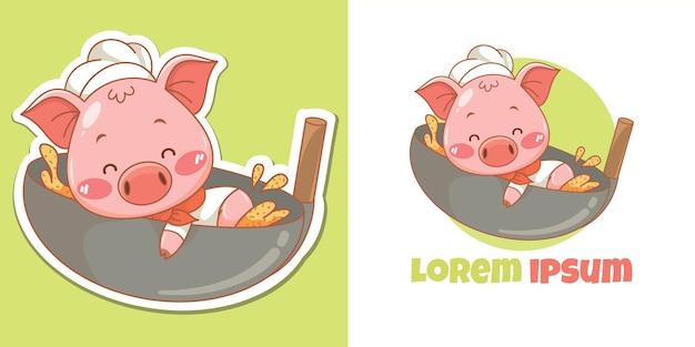 Fofinho mascote do chef porco com wok de arroz frito