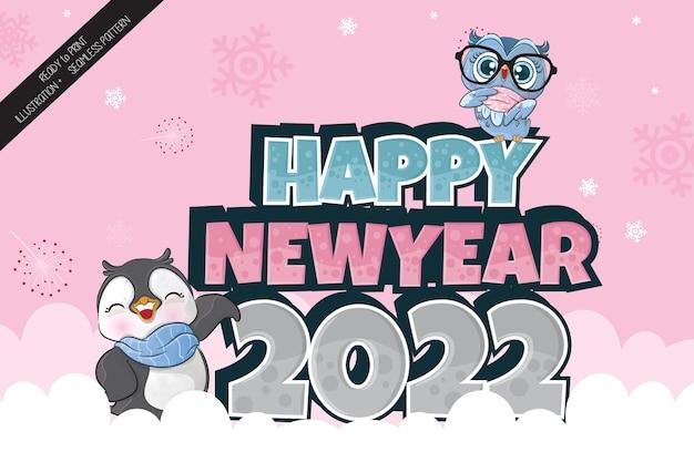 Fofinho pinguim e coruja feliz ano novo na neve ilustração ilustração de fundo
