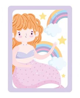 Fofinho sereia rosa cauda arco-íris estrelas nuvens desenho animado
