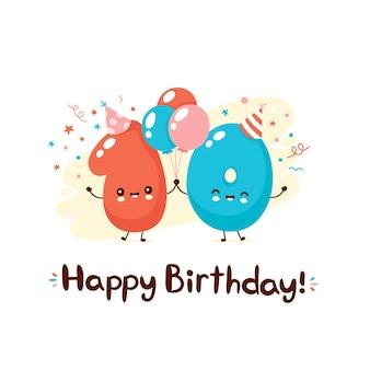 Fofinho sorridente número dez com balões em um chapéu festivo