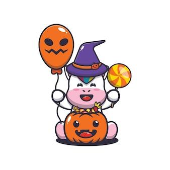 Fofinho unicórnio felicidade no dia do dia das bruxas ilustração fofa dos desenhos animados de halloween