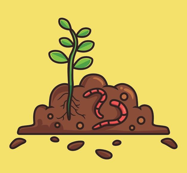 Fofinho verme fertilizante um conceito de natureza animal de desenho de planta ilustração isolada estilo simples