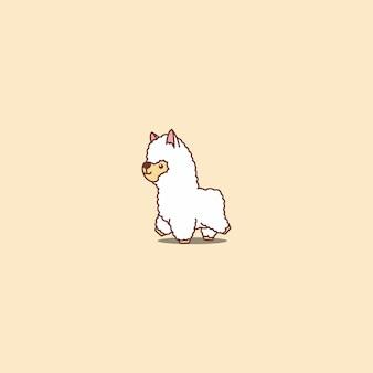Fofo alpaca andando ícone dos desenhos animados