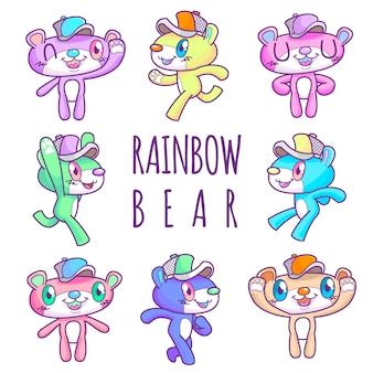 Fofo arco-íris urso vestindo boné