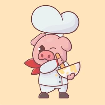 Fofo chef pig mascote logo premium kawaii