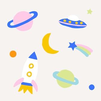 Fofo desenho animado foguete planeta lua estrelas espaço cósmico ilustração de corte de papel