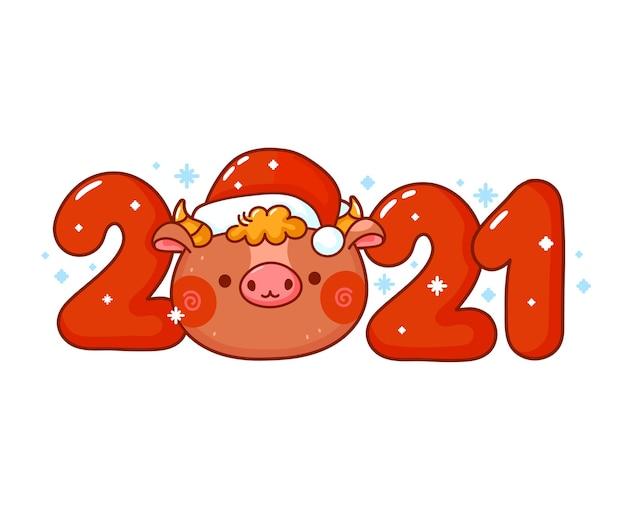 Fofo e engraçado ano novo com cabeça de touro