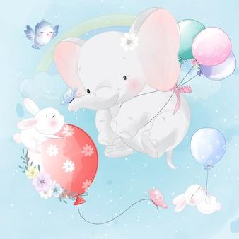 Fofo elefante e coelho voando com balão