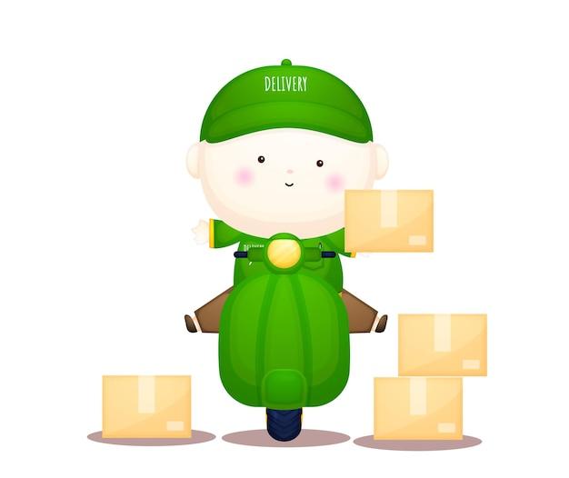 Fofo entregador de serviço mascote personagem de desenho animado premium vector