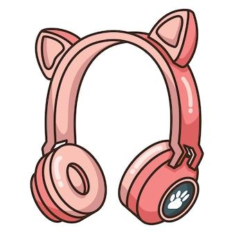 Fofo gato com fone de ouvido e fone de ouvido com design de ilustração vetorial bluetooth