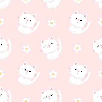 Fofo gato e flores sem costura de fundo