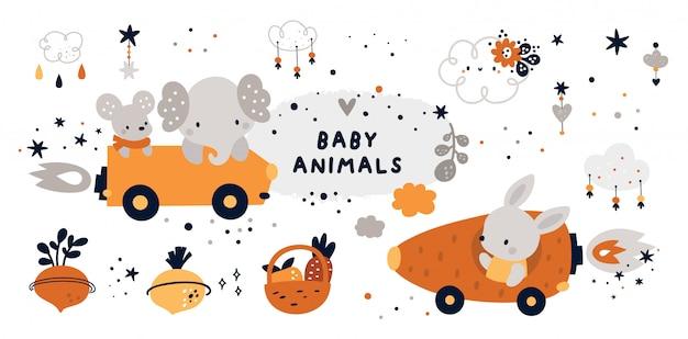 Fofo infantil definido com animal bebê.