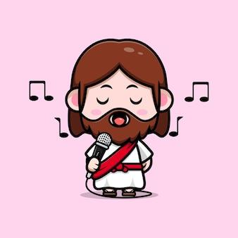 Fofo jesus cristo cantando com ilustração cristã de desenho vetorial de microfone