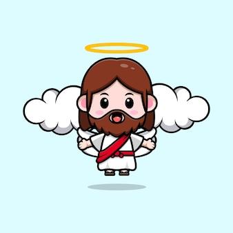 Fofo jesus cristo com ilustração cristã de desenho vetorial de asa