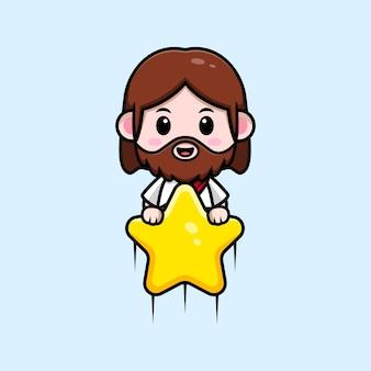 Fofo jesus cristo flutuando com ilustração cristã de desenho vetorial estrela