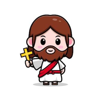 Fofo jesus cristo segurando uma ilustração cristã de desenho vetorial cruz