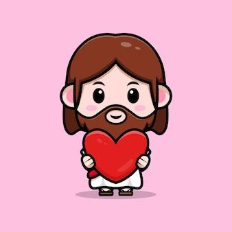 Fofo jesus cristo segurando uma ilustração cristã de desenho vetorial de coração