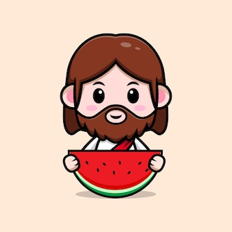 Fofo jesus cristo segurando uma ilustração cristã de desenho vetorial de melancia