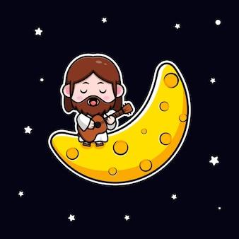 Fofo jesus cristo tocando guitarra e cantando na lua ilustração cristã dos desenhos animados