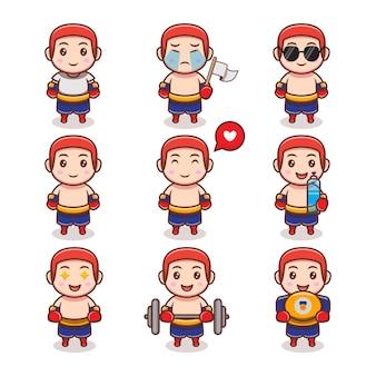 Fofo menino lutador com conjunto de diferentes expressões