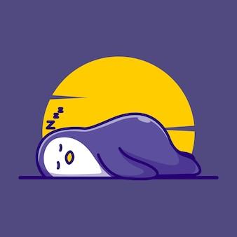 Fofo pinguim dormindo ilustração vetorial ícone plano dos desenhos animados