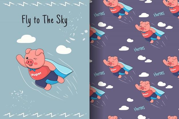 Fofo porquinho voador sem costura padrão e cartão