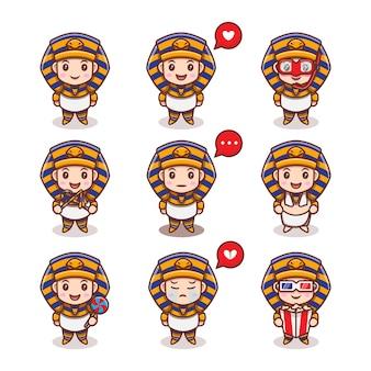 Fofo rei do egito com conjunto de diferentes expressões