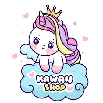 Fofo unicórnio com logotipo de princesa pégaso desenho animado animal kawaii Vetor Premium