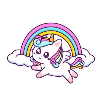 Fofo unicórnio feliz voando com arco-íris