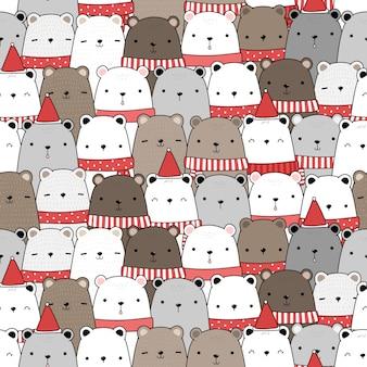 Fofo ursinho adorável feliz natal e feliz ano novo desenho animado doodle padrão sem emenda